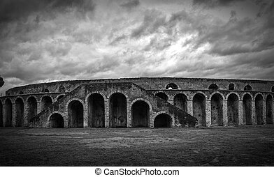 ancient arena in Pompeii, Italy, black and white