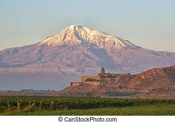 Ancient Armenian church Khor Virap with Ararat, Armenia