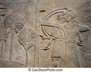 Ancient Assyrian wall carvings - Ancient Assyrian wall...