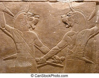 Ancient Assyrian wall carvings of lion-headed men