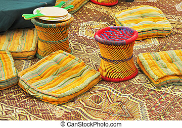 Ancient authentic bedouin a tent - Utensils in ancient...