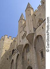 Ancient Avignon Cathedral and Palais des Papes (Avignon,...