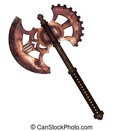 Ancient Axe - Illustration of an axe isolated on a white...