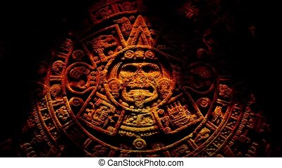 Ancient Aztec Carving In Flames