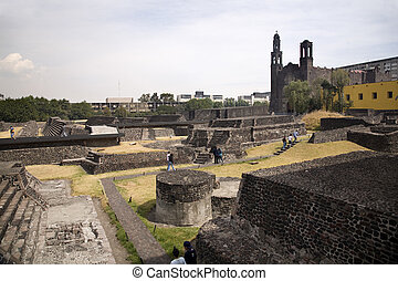 Ancient Aztec City Mexico - Plaza of the Three Cultures,...