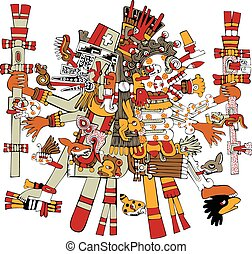 Ancient Aztec God - Vector of Aztec god Tezcatlipoca,...
