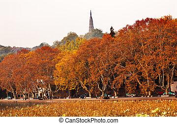 Ancient Baochu Pagoda Autumn West Lake Hangzhou Zhejiang...