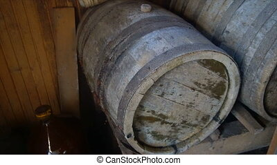 ancient barrels of wine stood for several decades.