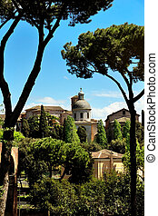 Ancient basilica church Santi Giovanni e Paolo, Roma, Italy...