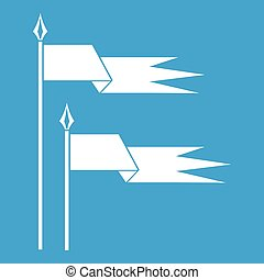 Ancient battle flags icon white isolated on blue background...