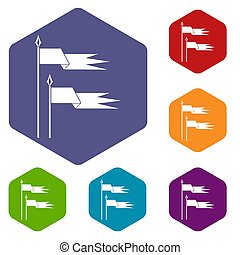 Ancient battle flags icons set rhombus in different colors...