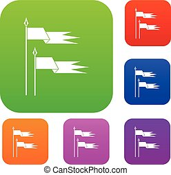 Ancient battle flags set collection - Ancient battle flags...