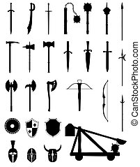 ancient battle weapons set icons black silhouette stock vector illustration