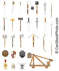 ancient battle weapons set icons stock vector illustration