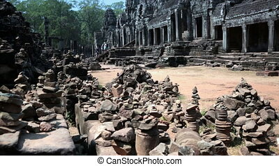 Ancient Bayon Temple At Angkor Wat, Siem Reap, Cambodia -...