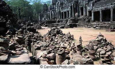 Ancient Bayon Temple At Angkor Wat, Siem Reap, Cambodia -...