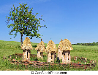 ancient beehives on a meadow, Ukraine