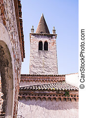 ancient bell tower in a medieval village