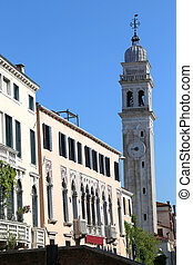 Ancient Bell tower in Venice Italy