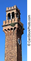bell tower on the island of Murano near Venice in Italy