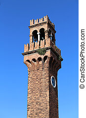 bell tower on the island of Murano near Venice in northern Italy