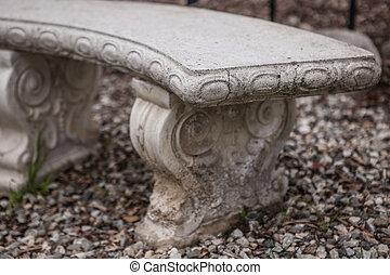 Ancient bench in a park, garden architecture, background