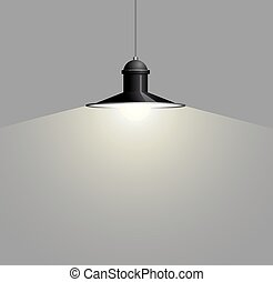 Ancient black lamp hanging. Big and empty space illuminated on the grey wall.