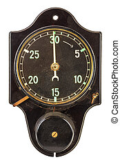 Ancient black minute timer isolated on white