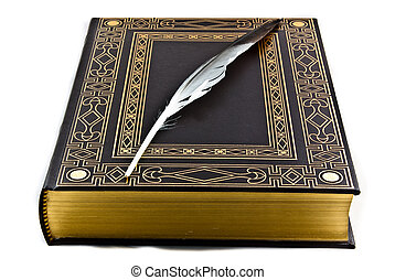 An elegant ancient book and a feather lying over it