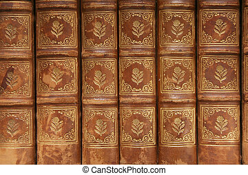 Ancient books backgr - Nineteenth century book detail