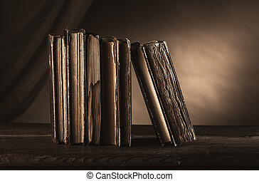 Ancient books on an old table