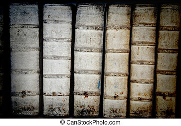 Ancient books - Detail of ancient book backbones - tomes in...