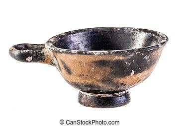 Ancient bowl over white