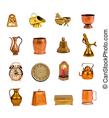ancient brass and copper objects and tools colection on white
