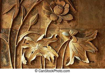 Ancient brick carving art of lotus flowers