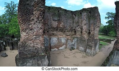 Ancient Brick Ruins of the Royal Palace in Polonnaruwa