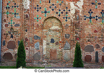 Ancient brick wall of The Kalozha church in Grodno, Belarus.
