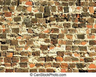 Ancient brick wall - Old brick wall with visible damage and...