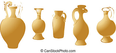ancient bronze pots vector illustration