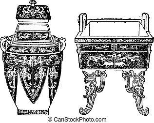 Ancient bronze vessels, vintage engraving.