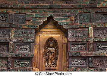 Ancient Buddha Brick Details Iron Buddhist Pagoda Kaifeng China