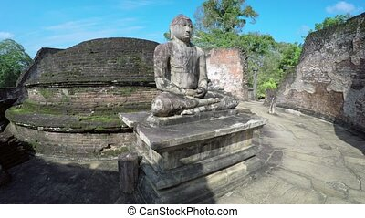 Ancient Buddha Sculpture inside the Vatadage of Polonnaruwa...