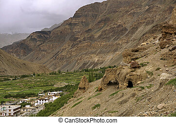 Ancient Buddhist Caves in the High-Altitude Mountain Desert in the Himalayas