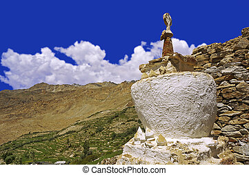 Ancient Buddhist Stupa in the High-Altitude Mountain Desert in the Himalayas