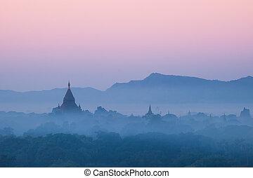 Ancient Buddhist Temples of Bagan Kingdom at sunrise. Myanmar (Burma)