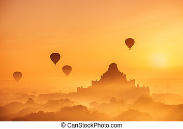 Ancient Buddhist Temples of Bagan Kingdom at sunrise....