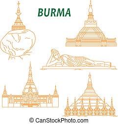Popular buddhist pilgrimage and tourist sites of Myanmar symbols with Shwezigon Pagoda, Kyaiktiyo Pagoda, Reclining Buddha, Uppatasanti Pagoda and Bagan Temple. Thin line style