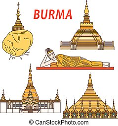 Ancient buddhistic temples of Burma colorful icon