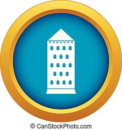 Ancient building icon blue vector isolated