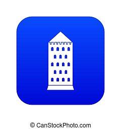 Ancient building icon digital blue